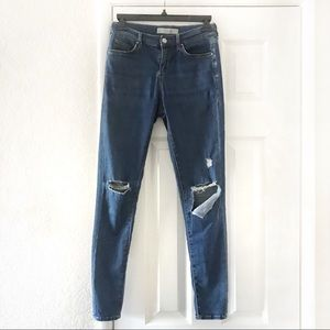 Topshop Moto Leigh W26 Ripped Skinny Blue Jeans